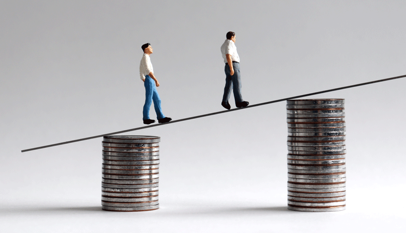 a pair of miniature figurines walking up an incline between two stacks of coins