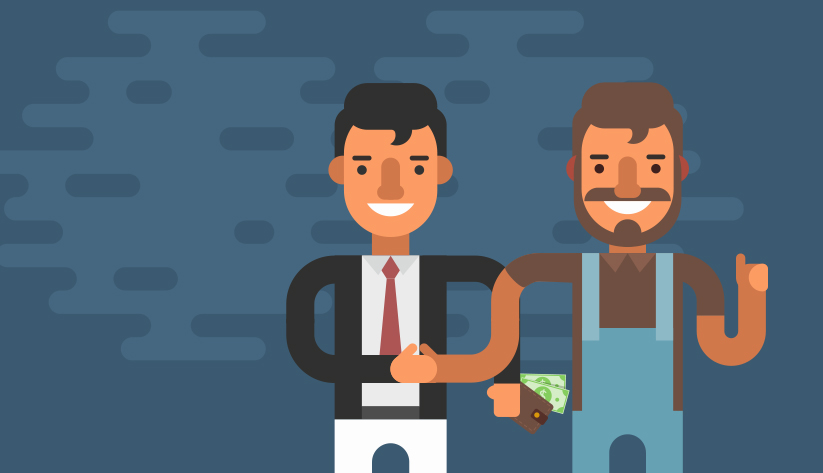 illustration of one person in a suite holding wallet with bills sticking out and the other person in overalls giving the thumbs up, shaking hands