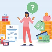 illustration of a woman holding up her hands with a question mark above her head, surrounded by stacks of coins, a bill, gifts, a piggy bank, and credit cards