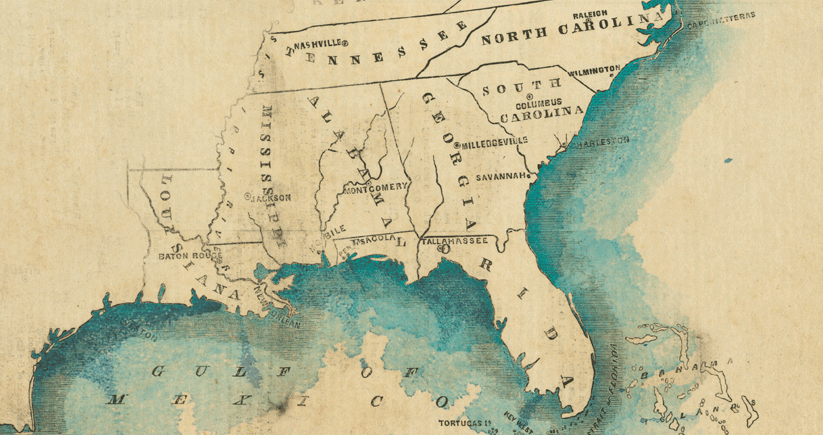 southeastern United States stylized as a colonial-era watercolor map