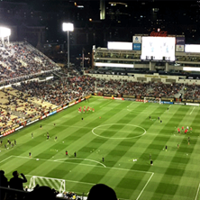 aerial view of Atlanta United professional soccer team playing at Bobby Dodd Stadium