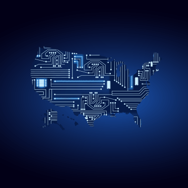 map of the United States overlaid with glowing blue computer circuits