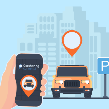 "hand holding mobile device with words ""carsharing"" and ""car rental"" with vehicle waiting with location bubble floating over it"