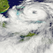 Image of a hurriane swirling off the east coast of Florida