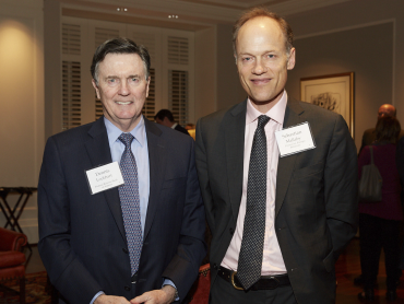 Photo of Sebastian Mallaby and Dennis Lockhart at the Atlanta Fed Public Affairs Forum