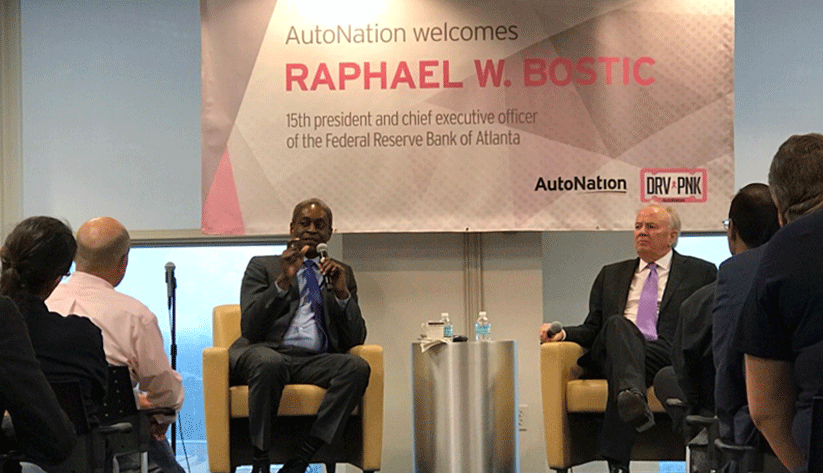 Photo of Raphael Bostic and Mike Jackson during Public Affairs Forum