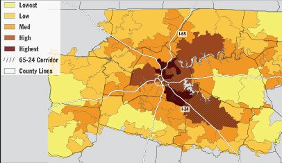 Nashville working poor distribution map