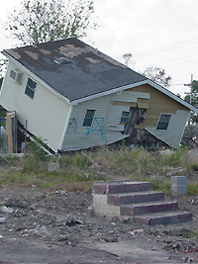damaged and rebuilt post-Katrina house