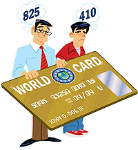 father and son with different FICO scores holding credit card