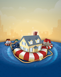 Photo of a house floating on a life preserver