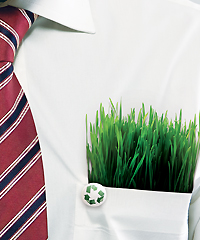 grass growing in a man's shirt pocket