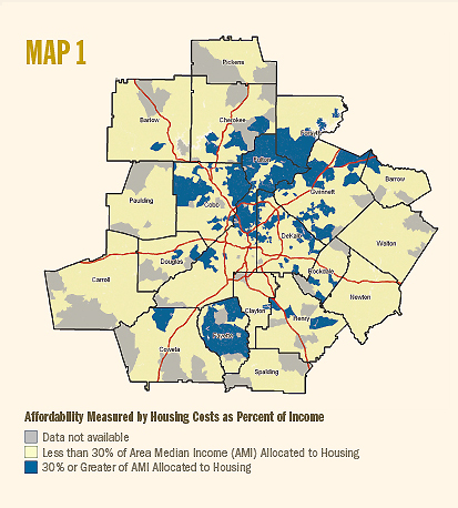 map of Atlanta metro region home affordability measured by housing costs as percent of income