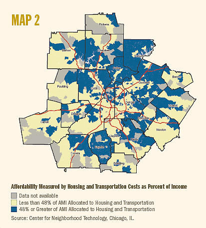 map of Atlanta metro region home affordability measured by housing and transportation costs as percent of income