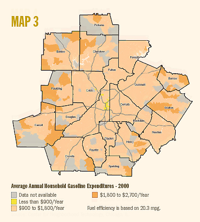 map of Atlanta metro region household gasoline expenditures 2000