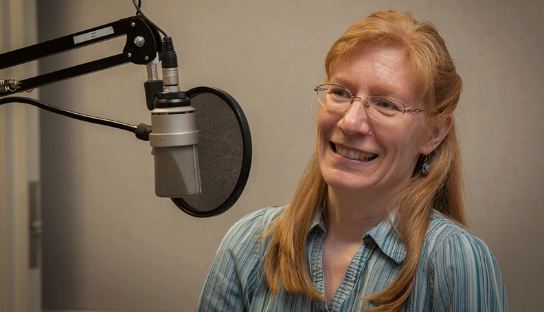 Economist Julie Hotchkiss at the recording of a podcast episode.