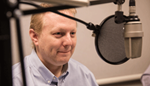 Pat Higgins, associate policy adviser and economist, at the recording of a podcast episode.