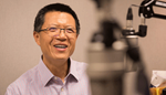 Tao Zha, research center executive director, at the recording of a podcast episode.