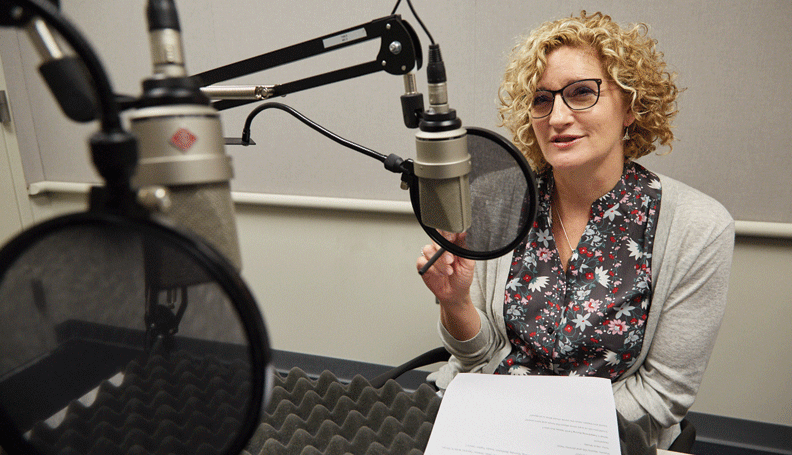 Research Center Director of the Center for Human Capital Studies, Melinda Pitts, at the recording of a podcast episode