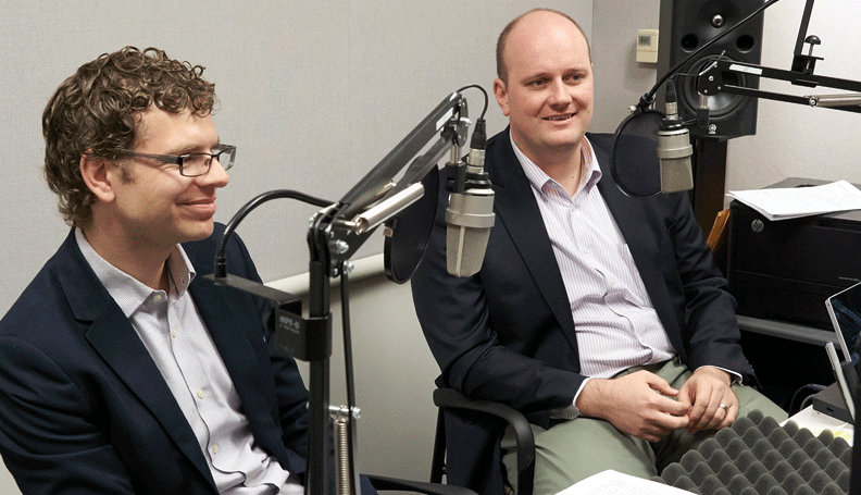 Mels de Zeeuw (left), a research analyst II and Stuart Andreason, Workforce Development Director, both of the Atlanta Fed's Community Development department, during the recording of a podcast episode, at the recording of a podcast episode