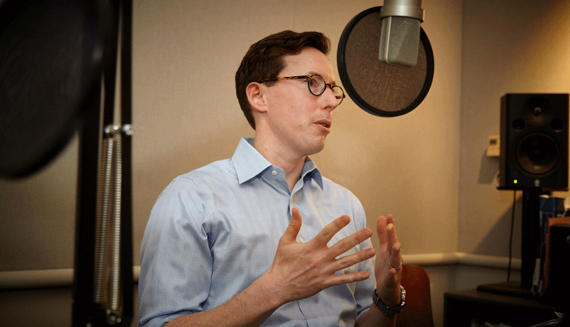 Nick Parker, a senior business survey specialist in the research department of the Atlanta Fed, at the recording of a podcast episode.