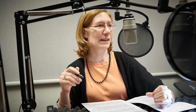 Julie Hotchkiss, Research Economist and Senior Adviser in the research department at the Atlanta Fed, at the recording of a podcast episode.