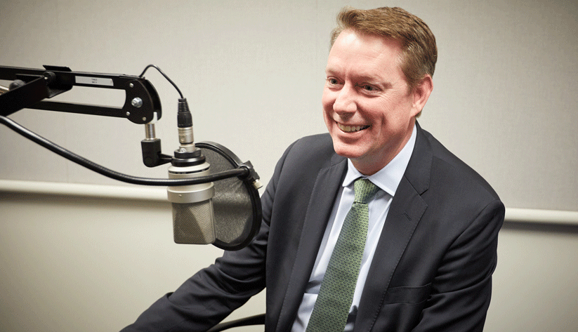 Jayson Lusk (distinguished professor and department head of agricultural economics at Purdue University) during the recording of a podcast episode.
