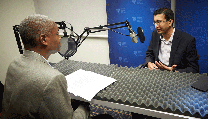 Raphael Bostic, President and CEO of the Atlanta Fed (left) with Raj Chetty, William A. Ackman Professor of Economics at Harvard University, at the recording of a podcast episode.