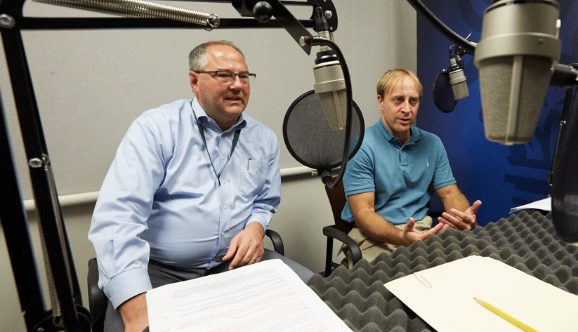 Scott Frame, Financial Economist and Senior Adviser (left) and and Kris Gerardi, Financial Economist and Adviser, both of the research department a the Atlanta Fed, during the recording of a podcast episode.