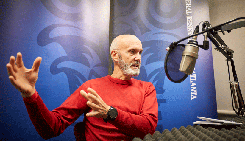 John Robertson, Financial Economist and Senior Adviser of the research department a the Atlanta Fed, during the recording of a podcast episode.