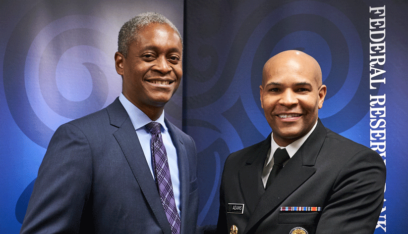 Raphael Bostic, President and Chief Executive Officer of the Atlanta Fed  (left) interviewes the U.S. Surgeon General, Jerome Adams.