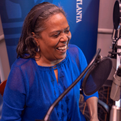 Cynthia Goodwin, a vice president in the Atlanta Fed's Supervision, Regulation, and Credit division, during the recording of a podcast episode.