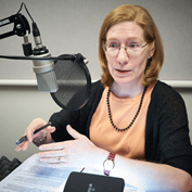 Julie Hotchkiss, a research economist and senior adviser in the research department, during the recording of a podcast.
