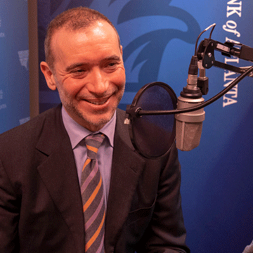 Heinz College professor Alessandro Acquisti during the recording of a podcast episode.