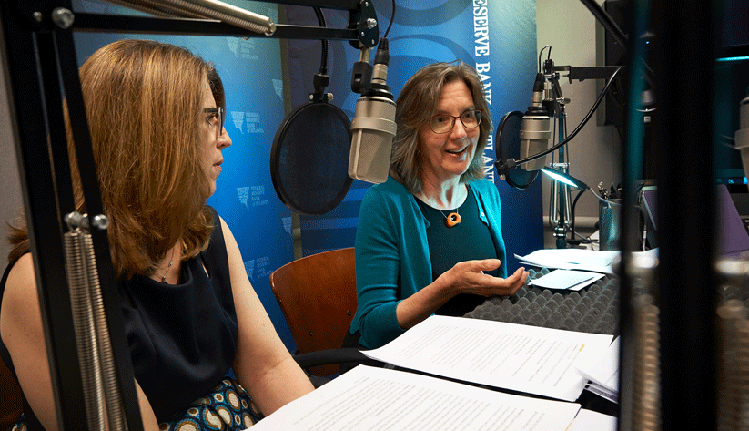 Claire Green, a payments risk expert, and Nancy Donahue, a project manager, both of the Atlanta Fed's Retail Payments Risk Forum, during the recording of a podcast episode.