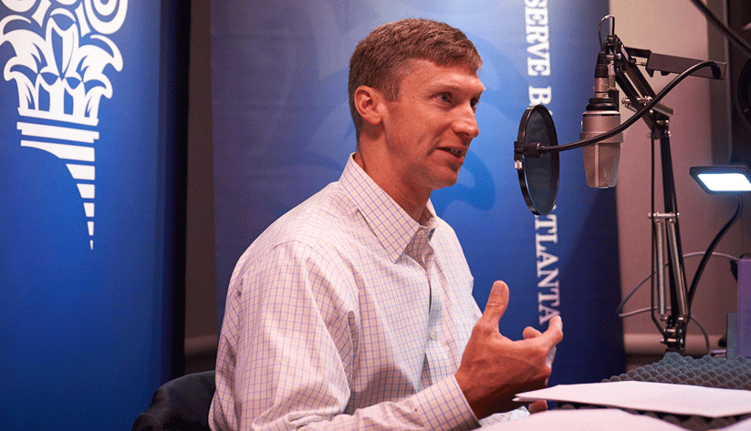 Douglas A. King, a payments risk expert in the Retail Payments Risk Forum at the Atlanta Fed, during the recording of a podcast episode.