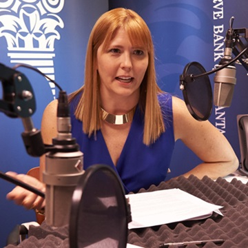 Megan Cummings, executive director of the Women's Fund of the Greater Cincinnati Foundation, during the recording of a podcast episode