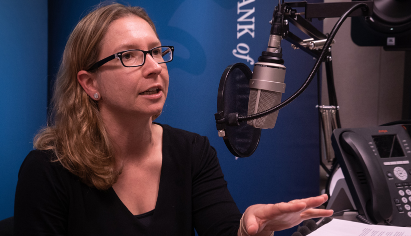 Veronika Penciakova, a research economist and assistant adviser in the Research Department of the Atlanta Fed during the recording of a podcast episode.