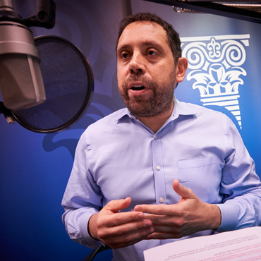 Federico Mandelman, a Research Economist and Associate Adviser in the Research department of the Atlanta Fed, during the recording of a podcast episode
