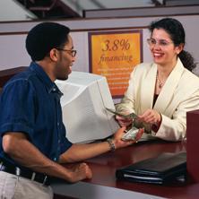 photo of man and woman banking
